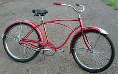 my 'paperboy' bike looked like this - I had baskets on the back & cloth bags that would attach to the handle bars - a great bike to carry lots & lots of papers! Old Bikes, Classic Bikes, Cloth Bags, Bicycle, Biking, Bing Images, 1950s, Baskets, Childhood