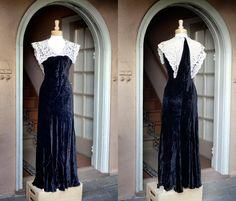 Vintage 30s Deco bias velvet gown by ticklepinkle on Etsy, $300.00
