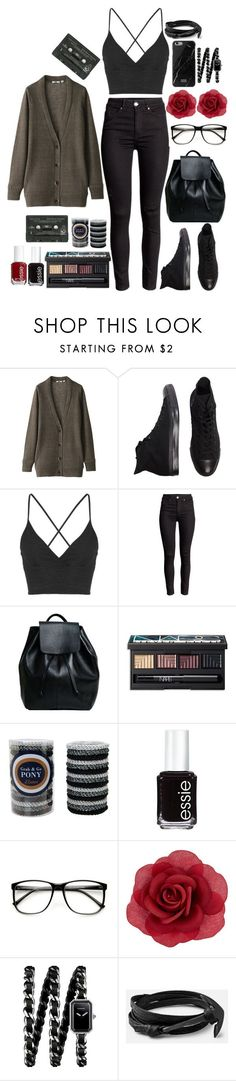 """""""Soft Grunge Fashion"""" by castle-of-ghosts ❤ liked on Polyvore featuring Uniqlo, Converse, Topshop, NARS Cosmetics, L. Erickson, Essie, ZeroUV, Accessorize, Chanel and Hipster"""