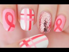 ▶ Breast Cancer Awareness Nails Tutorial - YouTube