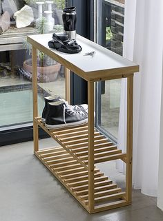 Wireworks Console Table Oak Natural Bed Company Extra Storageshoe
