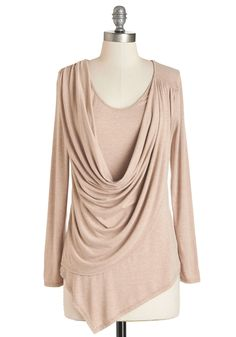 Tops - Draped in Delight Long-Sleeved Top in Sand