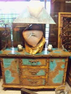 Turqoiuse distressed copper buffett or entry piece. Also Large Mesquite Lamp with copper shade. Rustic Furniture.