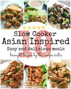 10 Asian Inspired Slow Cooker Meals at http://therecipecritic.com  This will be your last stop for all of your favorite restaurant quality meals at home!  General Tsao's, cashew chicken, lettuce wraps, beef and broccoli and more!!