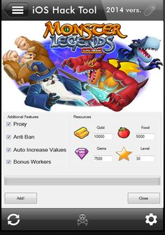 Here is the latest 2015 hack tool for Monster Legends, a game available on Facebook and iOS! With the help of this app you will have working cheats for unlimited gold, free gems and infinite food! The Monster Legends hack is 100% compatible with all ios devices like iPhone and iPad!
