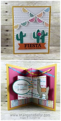 Fun Fold Birthday Card using Birthday Fiesta Stamp Set by Stampin Up - create by www.stampstodiefor visit my blog to watch a video how to make this card.