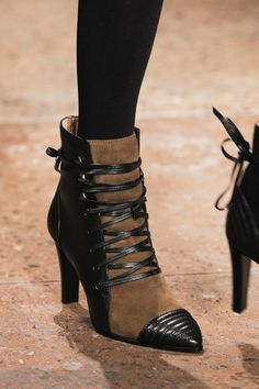 LSC   Style - Marissa Webb Fall 2015 NYFW- Black leather & taupe suede tie ankle booties. Luxuryshoeclub.com