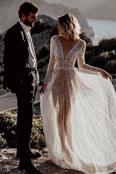 Chic Deep V Neck Backless Long Sleeve Sequin Tulle Wedding Long Dress, Shop for cheap Chic Deep V Neck Backless Long Sleeve Sequin Tulle Wedding Long Dress online? Buy at Modeshe.com on sale! Sequin Wedding, Sheer Wedding Dress, Tulle Wedding, One Day Bridal, Long Sleeve Wedding, Traditional Dresses, Bridal Dresses, Wedding Styles, Marie