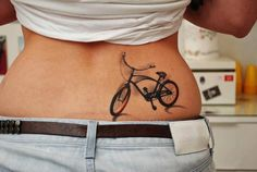 Bicycle 3d tattoo across chest and boobs