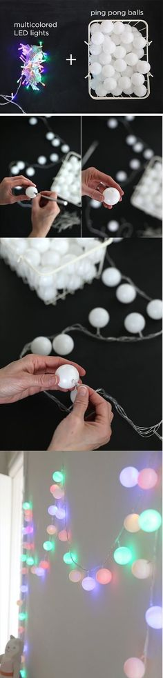 Ping pong balls over string lights. So much cheaper than the fancy lights. I need a ton more ping pong balls. What would be more fun than this craft is playing some serious ping pong. Save On Crafts, Fun Diy Crafts, Crafts Cheap, Cute Diy Crafts For Your Room, Cute Crafts For Teens, Rustic Crafts, Recycled Crafts, Creation Deco, Ideias Diy