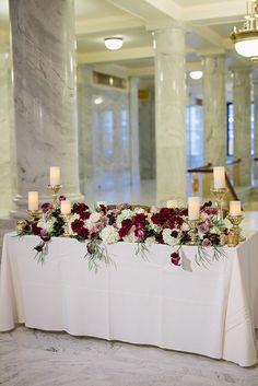 Fall Wedding in the Utah State Capitol Building, Sweetheart Table with Lush Floral Arrangement