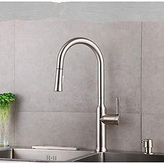 pont monté poignée seul trou avec nickel brossé robinet de cuisine Brass Nickel, Contemporary, Faucet, Sink, Nickel, Kitchen, Cheap Kitchen Faucets, Kitchen Faucet, Kitchen Taps