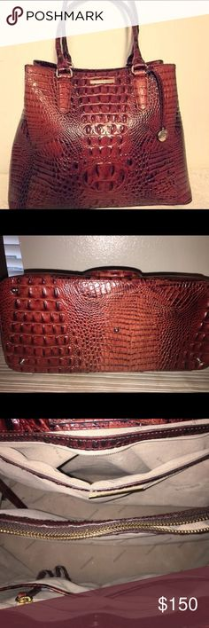 Brahmin Joan Tote - Pecan color A Brahmin Joan Tote, Pecan color lightly used, no signs of obvious wear. Brahmin Bags Totes