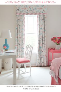 A lucky young lady's beautiful room with a custom color oomph Hobe Sound table in PINK!