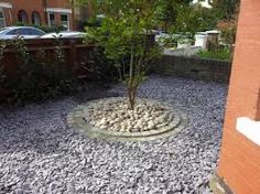 Formal Front Garden With Tile Path Slate Chippings And