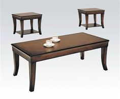 Branford Cherry Wood 3Pc Pack Coffee/End Table