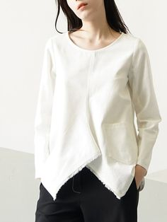 Shop Blouses - White Plain Cotton Long Sleeve Blouse online. Discover unique designers fashion at StyleWe.com.