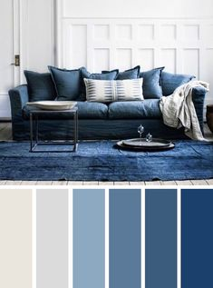 Shades of blue sitting room color scheme #homedecor #color #colorpalette #pantone #blue