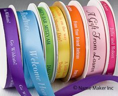 Clothing Labels, Personalized Ribbons & Waterproof Labels - Name Maker Wedding Attendant Gifts, Name Maker, Personalized Ribbon, Custom Ribbon, Printed Ribbon, Grad Gifts, Clothing Labels, Printing Labels, Hostess Gifts
