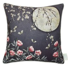 This The Chateau by Angel Strawbridge Moonlight Cushion features blossom trails, wild flowers and a full moon on a midnight blue background Angel Strawbridge, Main Colors, Colours, Contemporary Leather Sofa, Blue Cushions, Made To Measure Curtains, Blue Bedding, Cushion Pads, Duvet Sets