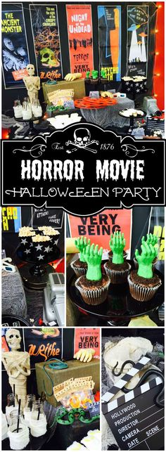 How awesome is this vintage horror movie Halloween party?! See more party ideas at CatchMyParty.com!