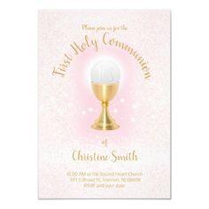 First Communion faux glitter Catholic girl Invitation   Zazzle.com