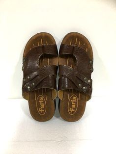 70552ff79e654 9 US LEATHER flip flops jerusalem sandals SHOES brown slipper Biblical EURO  43