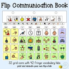 Say more... use core!!!This is a digital download of a flip communication book (e.g. flip-n-talk). Print, laminate, hole-punch and stuff it in a binder; you're ready to go. Included is a 32 grid core language board (download preview for a freebie!) and 38 fringe vocabulary tabs.