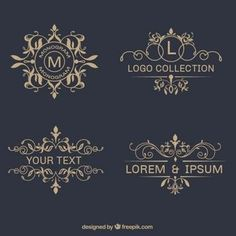 ornamental-logos Free Elegant Design Elements to Add Class to Your Work Logo Design, Web Design, Vector Design, Graphic Design, School Doodle, Logo Fleur, Logos Vintage, Graphics Vintage, Retro Logos