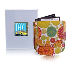 Taxi Wallet Citrus Small Folding LEATHER Minimalist Card Wallet for Women Coin Purse