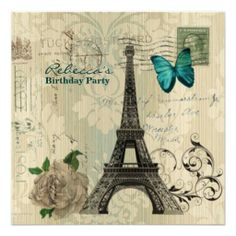 girly eiffel tower floral vintage birthday party invites