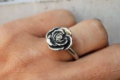 ON SALE Boho Sterling Silver Rose Ring Romantic by lovestrucksoul