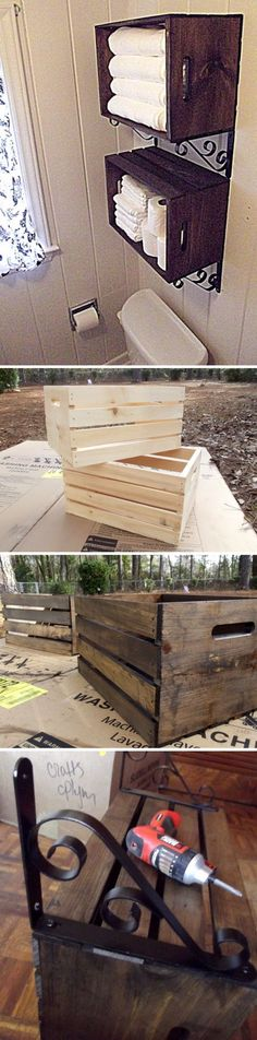 43 Over The Toilet Storage Ideas For Extra Space 9 17 20 24 26 28 32 35 40 Diy Pallet Projects, Home Projects, Crate Storage, Storage Ideas, Extra Storage, Camper Storage, Crate Shelves, Bad Wand, Apartment Decorating On A Budget