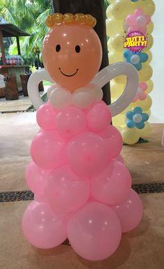 Bautizo Ángel decoracion con globos, primera comunión decoracion, first communion Ángela balloons decorations.