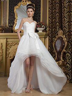 Marjerie - corte a asimétrico vestido de novia de satén con lazos - EUR €138,71