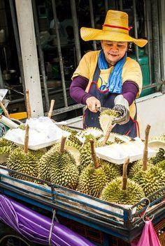 A durian vendor in Chinatown | A Stroll Down Walking Street in Bangkok, Thailand