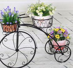 Alta Calidad Antique Hierro Forjado Soportes Plant Hierro Forjado Soporte de La Planta de La Bicicleta
