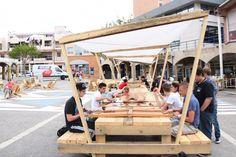 Made in Vitrolles – Collectif Etc, support d'expérimentations urbaines Urban Furniture, Street Furniture, Cheap Furniture, Urban Landscape, Landscape Design, Ideas Cabaña, Urban Intervention, Pocket Park, Public Seating