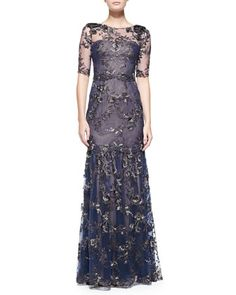 Elbow-Sleeve+Tiered+Flower+Appliqué+Gown+by+Notte+by+Marchesa+at+Neiman+Marcus.