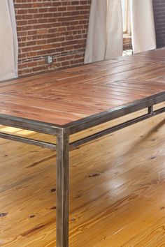 Heart Redwood Dining Conference Table Handmade Steel Legs - Handmade conference table