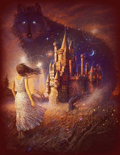 *gasp* I was gonna pin this earlier under Nell! Because of the girl and the Castle and the magical wandering feel. But then I didn't. And now I see it for the second time... AND I SEE IT! I. SEE. WOLF!!! WOOOOOOOOOOOLFFFFFFFFF!!!