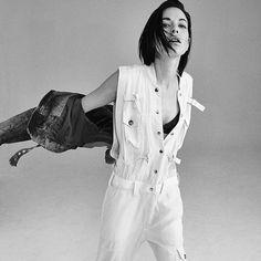 Hannah Vandermolen checks into spring in black, grey, and white essentials photographed by Jordan Hemingway for Diesel