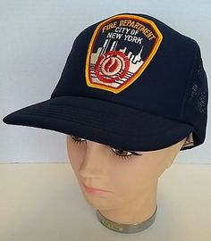 Vintage New York City Fire Department Blue Snapback Truckers Baseball Hat  Adult  Unknown  BaseballCap 39080a096062