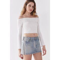 BDG Skate Striped Denim Mini Skirt ($59) ❤ liked on Polyvore featuring skirts, mini skirts, distressed denim mini skirt, short miniskirt, stripe skirt, ripped skirt and zipper mini skirt