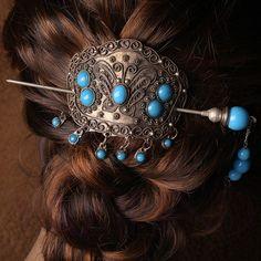 Vtg Tibet Silver Turquoise Blue Butterfly Bun Pin Stick Barrette Hair Slide Clip | eBay