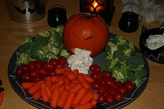 Easy and fun for Halloween - your little pumpkin can be spewing hummus, guacamole, salsa, etc.