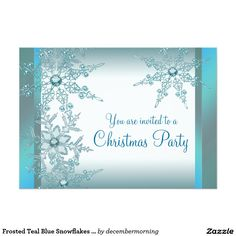 Frosted Teal Blue Snowflakes Christmas Party 5x7 Paper Invitation Card