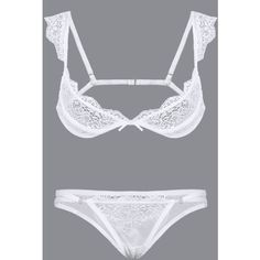 Yoins White Sexy Lace Lingerie Set without Falsies ($18) ❤ liked on Polyvore featuring intimates, white, sexy lingerie, white lingerie, white lace lingerie, sexy lace lingerie and lace lingerie