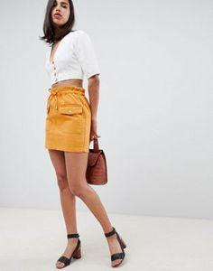 ASOS DESIGN - Jupe en jean à taille haute froncée - Moutarde