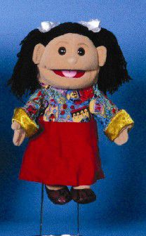 This sassy young girl puppet is wearing a nice orange shirt. Her dark brown yarn hair, complete with a strip of light blond highlighting, is fashionably pulled back into a short ponytail. Girl Puppets, Glove Puppets, People Puppets, Short Ponytail, Hispanic Girls, Orange Shirt, Dress Gloves, Red Skirts, Black Shoes